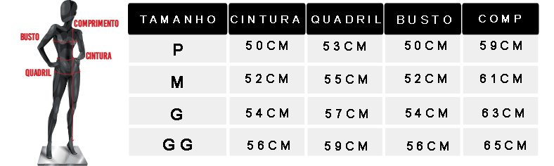 tabela de medidas camisa lavada bc1179
