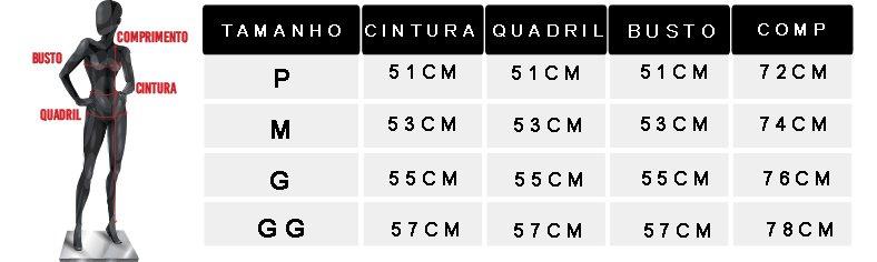 tabela de medidas camisetao liso