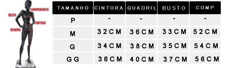 tabela de medidas blusa feminina canelada