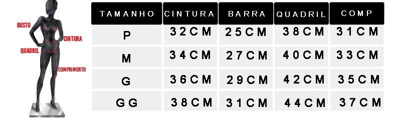 tabela de medidas oficial 2 shorts moletinho