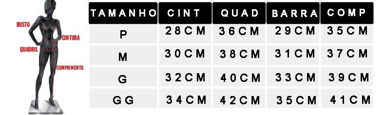 tabela de medidas oficial 2 shorts novo